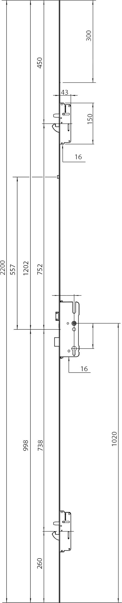 CHAPA TESTA CENTRAL 7765 P/FECHADURA AUTOMATICA